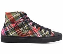 High-Top-Sneakers mit Schottenkaro