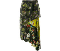 layered floral-print and mesh skirt