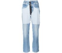 Boyfriend-Jeans mit Kontrasteinsätzen