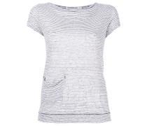 Gestreiftes Leinen-T-Shirt mit Tasche - women