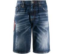 Jeans-Bermudas mit Totenkopf