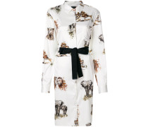 animal print shirt dress with tie waist