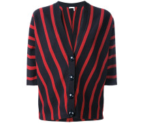 striped short-sleeve cardigan - women