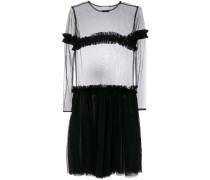 sheer panel tiered dress