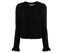 Gestrickter Pullover mit Rüschen