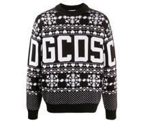 Intarsien-Pullover mit Schneeflocken