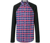 plaid colour-block shirt