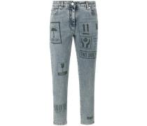 """Skinny-Jeans mit """"Packaging""""-Print"""
