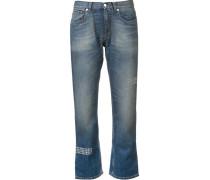Cropped-Jeans mit Nieten