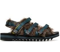 'ZIP-2' Sandalen mit Faux Fur