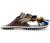 macramé trim sandals