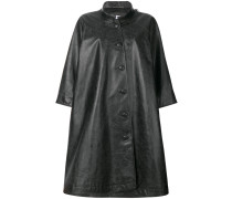 logo print leather coat