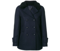 textured collar double breasted coat