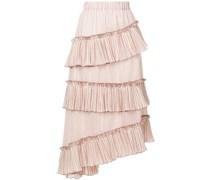striped asymmetric frill trim midi skirt