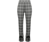 checked high waist trousers