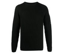 Geripptes Sweatshirt mit Logo-Patch