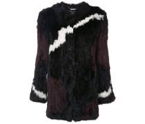 jagged stripe colour block fur jacket
