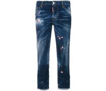 Boyfriend-Jeans mit floraler Stickerei