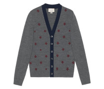 Wool cardigan with bees and stars - men - Wolle