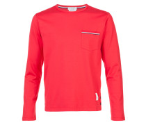 Long Sleeve T-Shirt With Chest Pocket In Red Cotton Jersey