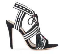 patterned strap fringe tie sandals