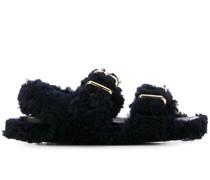 Shearling-Sandalen mit Schnallen