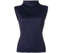 high neck pleated top