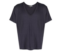 Leinen-T-Shirt mit V-Ausschnitt