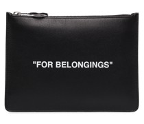 black Quote print leather pouch