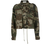 Cropped-Jacke mit Camouflage-Print