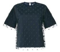 T-Shirt mit gepunktetem Tüll-Overlay