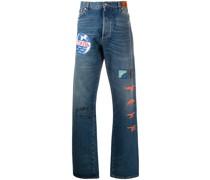Bootcut-Jeans mit grafischem Print