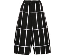 grid print cropped trousers