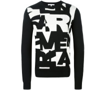 Intarsien-Pullover mit Buchstaben