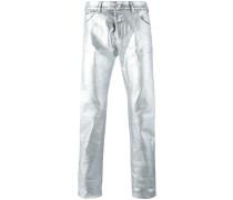 Schmale Jeans mit Metallic-Beschichtung