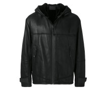 hooded leather coat with shearling