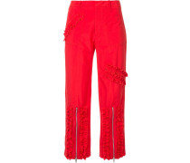 ruched stripe cropped trousers