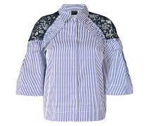 lace panel striped shirt