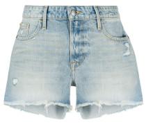frayed-edge denim shorts