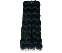faux fur embroidered gilet