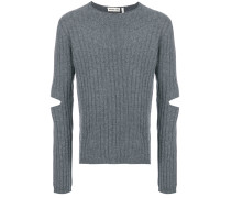 cut-out ribbed jumper