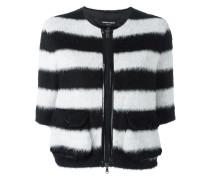 Flauschige Jacke mit Streifen