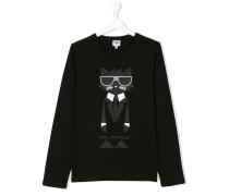 Teen logo cat print top