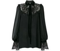 embroidered lace-insert georgette blouse