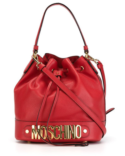 moschino damen beuteltasche mit logo applikation 30 reduziert. Black Bedroom Furniture Sets. Home Design Ideas