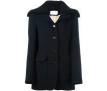 Mantel mit geripptem Strickkragen