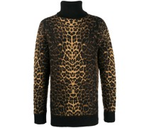 Rollkragenpullover mit Leoparden-Print