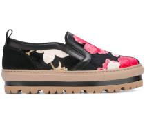 Slip-On-Sneakers mit Blumenmuster