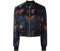 'Boobalicious' butterfly jacquard bomber jacket