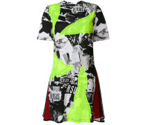 collage print skater dress